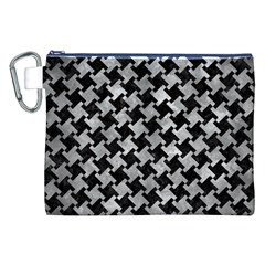 Houndstooth2 Black Marble & Gray Metal 2 Canvas Cosmetic Bag (xxl)