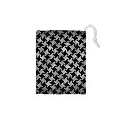 Houndstooth2 Black Marble & Gray Metal 2 Drawstring Pouches (xs)