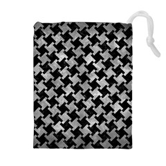Houndstooth2 Black Marble & Gray Metal 2 Drawstring Pouches (extra Large)