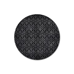Hexagon1 Black Marble & Gray Metal 2 Rubber Round Coaster (4 Pack)