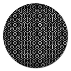 Hexagon1 Black Marble & Gray Metal 2 Magnet 5  (round)