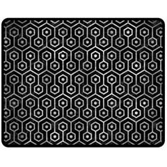 Hexagon1 Black Marble & Gray Metal 2 Fleece Blanket (medium)