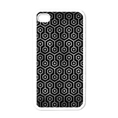 Hexagon1 Black Marble & Gray Metal 2 Apple Iphone 4 Case (white)