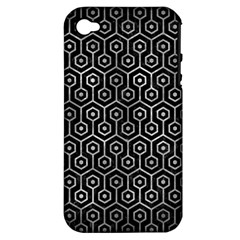 Hexagon1 Black Marble & Gray Metal 2 Apple Iphone 4/4s Hardshell Case (pc+silicone)