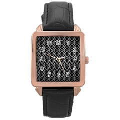 Hexagon1 Black Marble & Gray Metal 2 Rose Gold Leather Watch