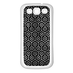 Hexagon1 Black Marble & Gray Metal 2 Samsung Galaxy S3 Back Case (white)