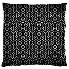 Hexagon1 Black Marble & Gray Metal 2 Large Flano Cushion Case (two Sides)