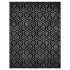 Hexagon1 Black Marble & Gray Metal 2 Drawstring Bag (large)