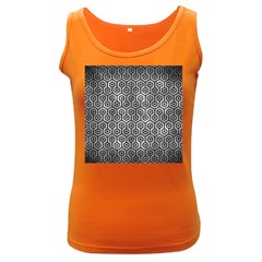 Hexagon1 Black Marble & Gray Metal 2 (r) Women s Dark Tank Top