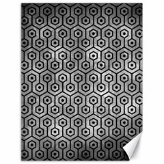 Hexagon1 Black Marble & Gray Metal 2 (r) Canvas 18  X 24
