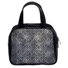 Hexagon1 Black Marble & Gray Metal 2 (r) Classic Handbags (2 Sides)