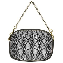 Hexagon1 Black Marble & Gray Metal 2 (r) Chain Purses (one Side)