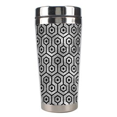 Hexagon1 Black Marble & Gray Metal 2 (r) Stainless Steel Travel Tumblers
