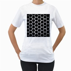 Hexagon2 Black Marble & Gray Metal 2 Women s T Shirt (white) (two Sided)