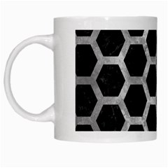 Hexagon2 Black Marble & Gray Metal 2 White Mugs