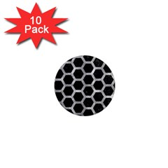 Hexagon2 Black Marble & Gray Metal 2 1  Mini Magnet (10 Pack)