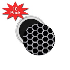 Hexagon2 Black Marble & Gray Metal 2 1 75  Magnets (10 Pack)