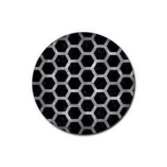 Hexagon2 Black Marble & Gray Metal 2 Rubber Round Coaster (4 Pack)
