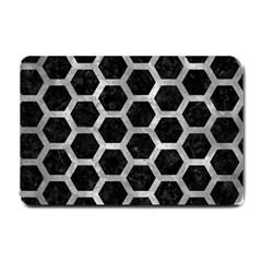 Hexagon2 Black Marble & Gray Metal 2 Small Doormat