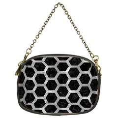 Hexagon2 Black Marble & Gray Metal 2 Chain Purses (one Side)