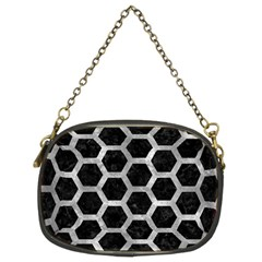 Hexagon2 Black Marble & Gray Metal 2 Chain Purses (two Sides)