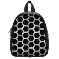 Hexagon2 Black Marble & Gray Metal 2 School Bag (small)