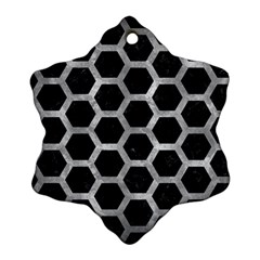 Hexagon2 Black Marble & Gray Metal 2 Snowflake Ornament (two Sides)
