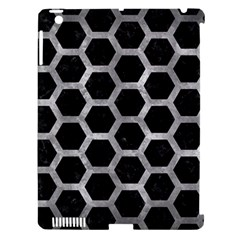 Hexagon2 Black Marble & Gray Metal 2 Apple Ipad 3/4 Hardshell Case (compatible With Smart Cover)