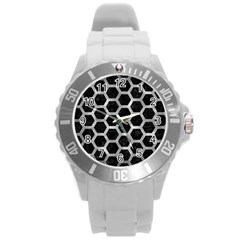 Hexagon2 Black Marble & Gray Metal 2 Round Plastic Sport Watch (l)