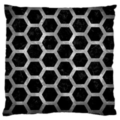 Hexagon2 Black Marble & Gray Metal 2 Large Cushion Case (one Side)