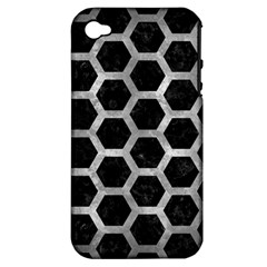 Hexagon2 Black Marble & Gray Metal 2 Apple Iphone 4/4s Hardshell Case (pc+silicone)