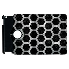Hexagon2 Black Marble & Gray Metal 2 Apple Ipad 3/4 Flip 360 Case