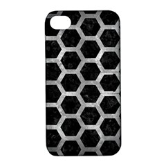 Hexagon2 Black Marble & Gray Metal 2 Apple Iphone 4/4s Hardshell Case With Stand