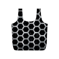 Hexagon2 Black Marble & Gray Metal 2 Full Print Recycle Bags (s)