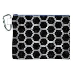 Hexagon2 Black Marble & Gray Metal 2 Canvas Cosmetic Bag (xxl)