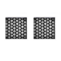 Hexagon2 Black Marble & Gray Metal 2 (r) Cufflinks (square)