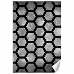 Hexagon2 Black Marble & Gray Metal 2 (r) Canvas 24  X 36