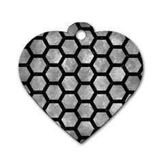 Hexagon2 Black Marble & Gray Metal 2 (r) Dog Tag Heart (one Side)