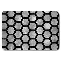 Hexagon2 Black Marble & Gray Metal 2 (r) Large Doormat