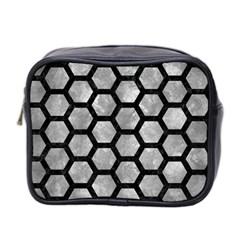 Hexagon2 Black Marble & Gray Metal 2 (r) Mini Toiletries Bag 2 Side