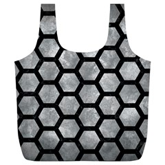 Hexagon2 Black Marble & Gray Metal 2 (r) Full Print Recycle Bags (l)