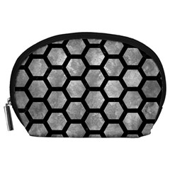 Hexagon2 Black Marble & Gray Metal 2 (r) Accessory Pouches (large)