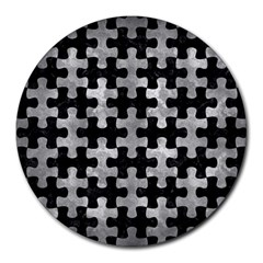 Puzzle1 Black Marble & Gray Metal 2 Round Mousepads