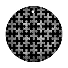 Puzzle1 Black Marble & Gray Metal 2 Ornament (round)