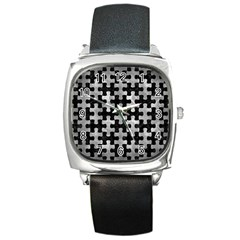 Puzzle1 Black Marble & Gray Metal 2 Square Metal Watch