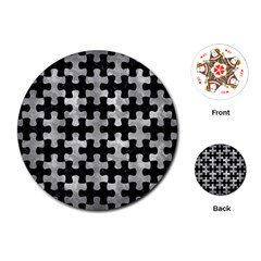 Puzzle1 Black Marble & Gray Metal 2 Playing Cards (round)