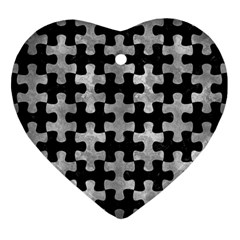 Puzzle1 Black Marble & Gray Metal 2 Heart Ornament (two Sides)