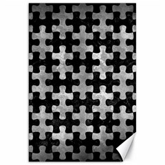 Puzzle1 Black Marble & Gray Metal 2 Canvas 20  X 30