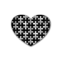 Puzzle1 Black Marble & Gray Metal 2 Heart Coaster (4 Pack)