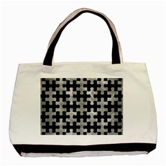 Puzzle1 Black Marble & Gray Metal 2 Basic Tote Bag (two Sides)